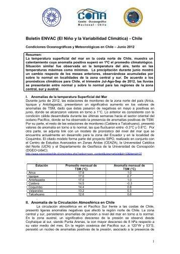 Condiciones Oceanográficas y Meteorológicas en Chile – Abril 2012