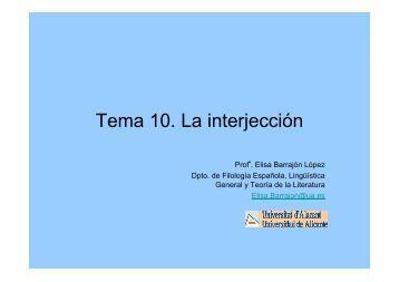 Tema 10. La interjección - RUA