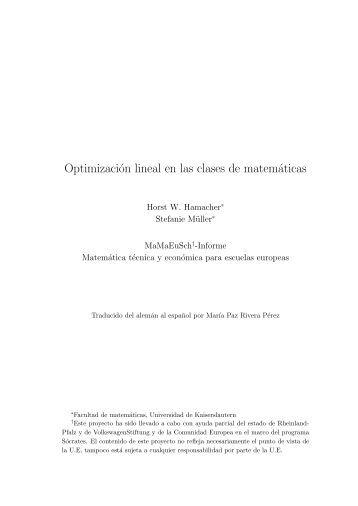 Optimización lineal en las clases de matemáticas - KLUEDO