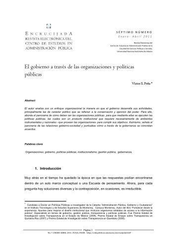 El gobierno a través de las organizaciones y políticas públicas