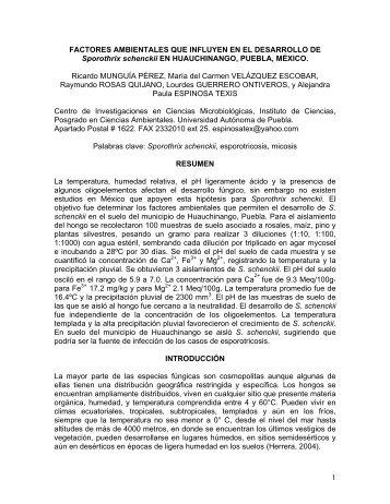 factores ambientales que influyen en el desarrollo de sporothrix