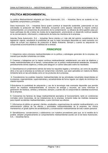 POLÍTICA MEDIOAMBIENTAL PRINCIPIOS - glaser