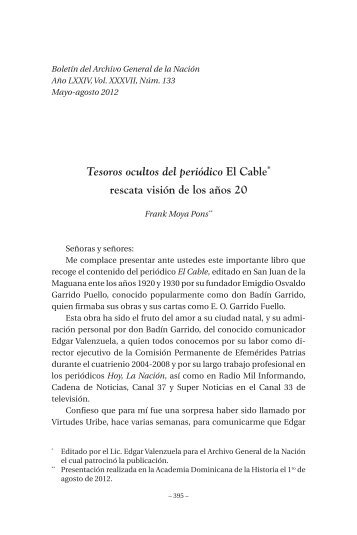 Tesoros ocultos del periódico El Cable rescata visión - BAGN ...