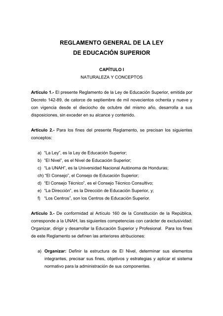Reglamento General De La Ley De Educación Superior Unah