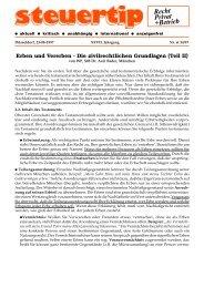 Erben und Vererben - die zivilrechtlichen Grundlagen (Teil II)