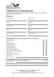 Fragebogen zur Trainingsplanung - Professional Endurance Team