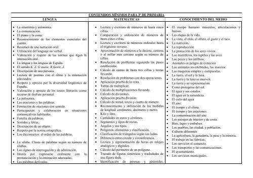 CONTENIDOS MÍNIMOS PARA 3º DE PRIMARIA LENGUA ...