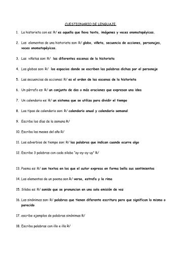 cuestionarios de segundo grado - Liceo Francisco Lopez Ramos
