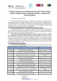 Primera evaluación sin notas. Información general del centro