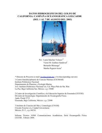 datos hidrográficos del golfo de california - Departamento de ...
