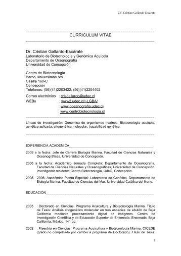 Descargar CV Dr. Cristian Gallardo-Escárate - Departamento de ...