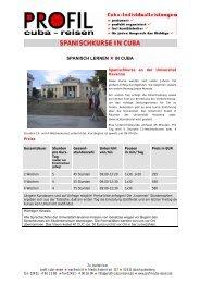 SPANISCHKURSE IN CUBA - Profil Cuba-Reisen, Manfred Sill