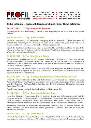 Programm als PDF - Profil Cuba-Reisen, Manfred Sill