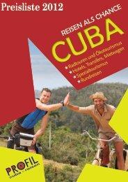 Preisliste 2012 - Profil Cuba-Reisen, Manfred Sill
