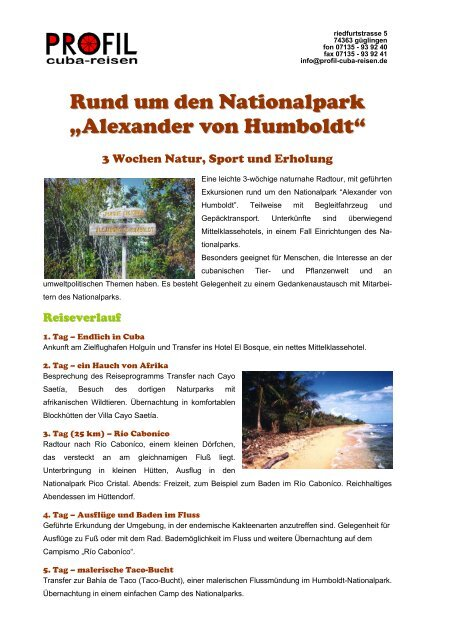 """Rund um den Nationalpark """"Alexander von Humboldt"""" - Profil Cuba ..."""