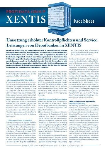 XENTIS für Depotbanken - Profidata Group