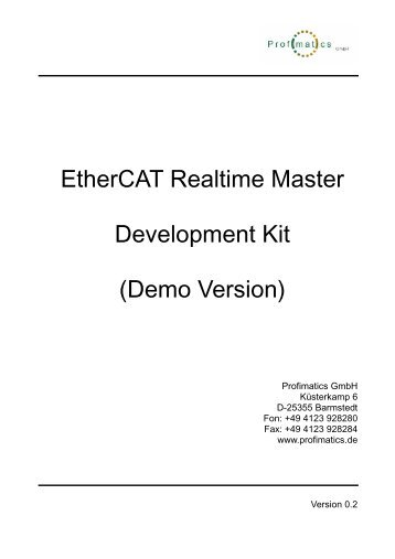 EtherCAT Realtime Master Development Kit (Demo ... - Profimatics