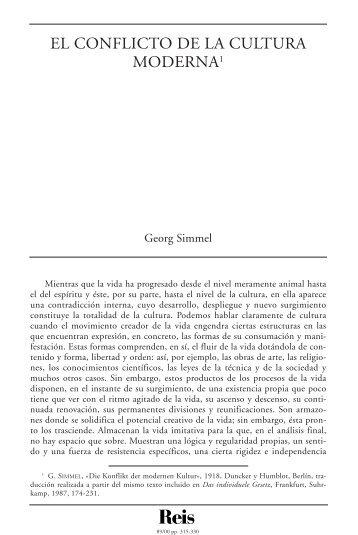 El conflicto de la cultura moderna. Simmel, Georg (REIS Nº ... - Dialnet