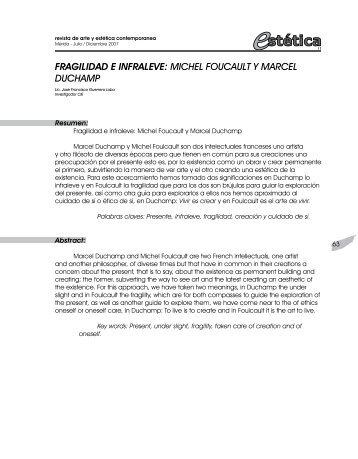 fragilidad e infraleve: michel foucault y marcel duchamp - Saber ULA