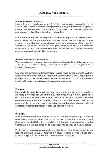 LA MEDIDA Y SUS ERRORES - RPS Qualitas