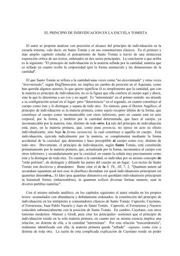 EL PRINCIPIO DE INDIVIDUACION EN LA ESCUELA TOMISTA