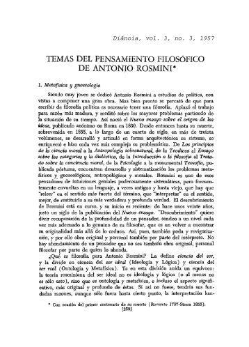 temas del pensamiento .filosófico de antonio rosmini - Diánoia