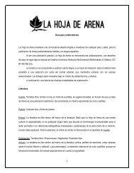 1 Guía para colaboradores La Hoja de Arena mantiene una ...