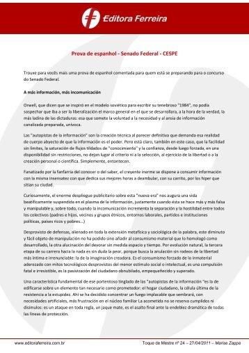 Prova de espanhol - Senado Federal - CESPE - Editora Ferreira