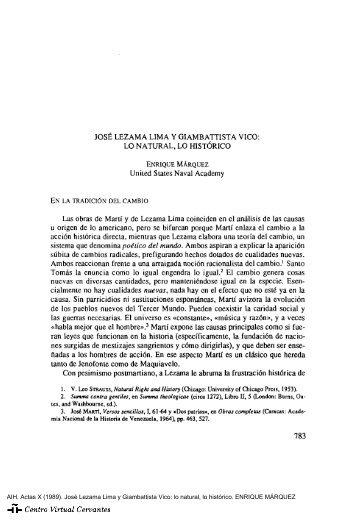José Lezama Lima y Giambattista Vico: lo natural, lo histórico