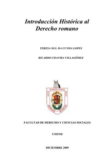 Introducción Histórica al Derecho romano - Facultad de Derecho y ...