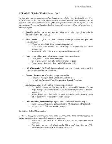 PERÍODOS DE ORACIONES (Anaya - COU) 1. Queridos padres ...