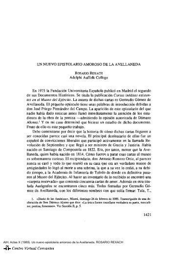 Actas X. AIH. Un nuevo epistolario amoroso de la Avellaneda ...