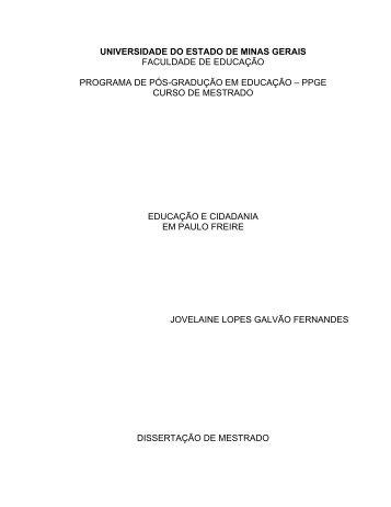 Educação e Cidadania em Paulo Freire - FAE - Uemg