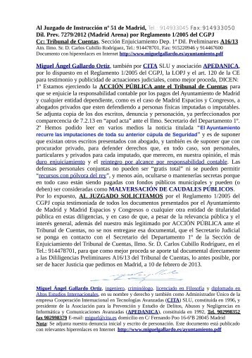 MADRID ARENA al Tribunal de Cuentas diligencias A16/13 por ...