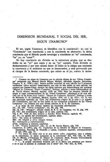 Dimensión mundanal y social del ser, según Unamuno - Gredos