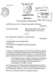 Unterlassungsklage der RWE - Projektwerkstatt