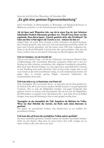 Interview mit Sylvia Frei-Hasler - Projektwerkstatt
