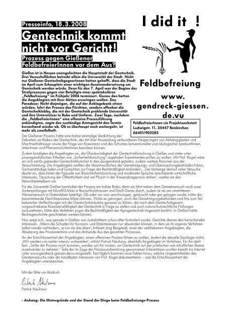 Presseinfo - Projektwerkstatt