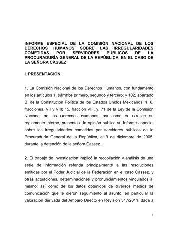 informe especial de la comisión nacional de los derechos humanos ...