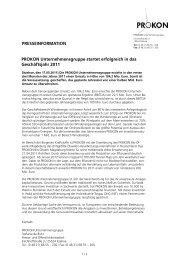 PRESSEINFORMATION PROKON Unternehmensgruppe startet ...