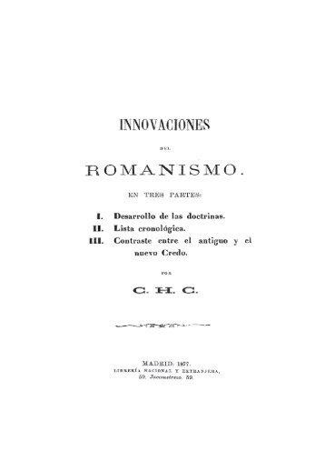 Imnovaciones del Romanismo - Comunidad Cristiana Eben-Ezer