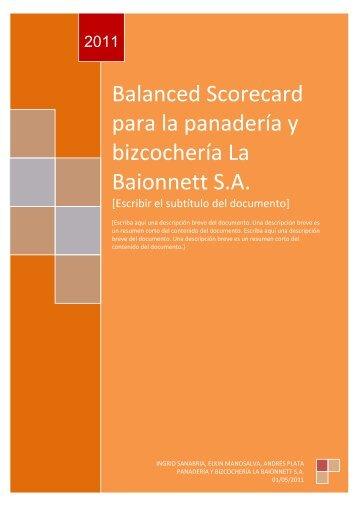 Balanced Scorecard para la panadería y bizcochería La Baionnett S.A.