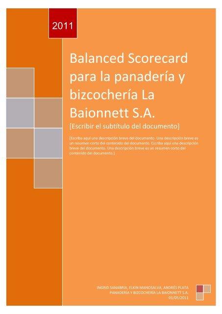 Balanced Scorecard Para La Panadería Y Bizcochería La