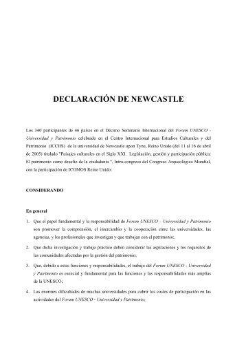 DECLARACIÓN DE NEWCASTLE - Forum UNESCO Universidad y Patrimonio