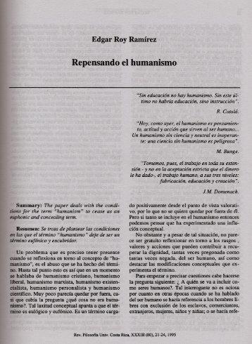 Repensando el humanismo - Instituto de Investigaciones Filosóficas ...