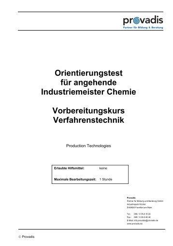 Orientierungstest für angehende Industriemeister Chemie ... - Provadis