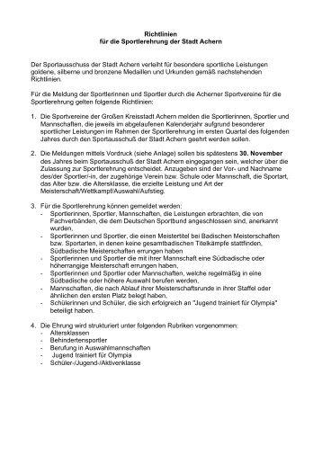 Richtlinien für die Sportlerehrung der Stadt Achern Der ...