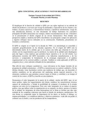 QFD: CONCEPTOS, APLICACIONES Y NUEVOS DESARROLLOS ...