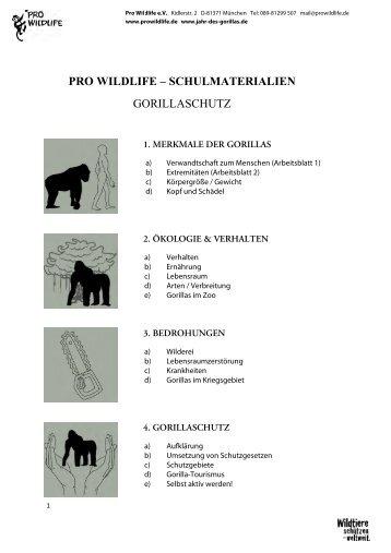 PRO WILDLIFE – SCHULMATERIALIEN GORILLASCHUTZ