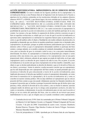 ACCIÓN REIVINDICATORIA. IMPROCEDENCIA DE SU EJERCICIO ...